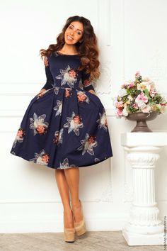Купить платье Штамп лотос - комбинированный, платье на каждый день, теплое платье, платье с цветами
