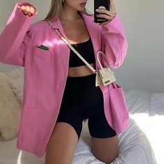 Blazer Outfits, Pink Outfits, Cute Casual Outfits, Chic Outfits, Summer Outfits, Fashion Outfits, Langer Mantel, Mein Style, Look Fashion