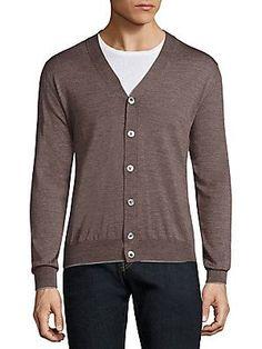Eleventy Textured Merino Wool & Silk Blend Cardigan - Brown - Size