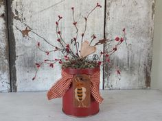 Primitive Country Bee Tin,Valentines,Red Decor,Country Bee,Country Decor,Primitive Decor,PrimitiveTin,Country Tin,Rustic Decor,Pip Berries by FlatHillGoods on Etsy