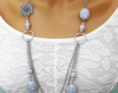 Long Grey Chunky Beaded Necklace Multi Strand Silver Chain