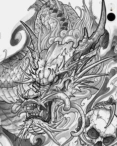 Dragon Tattoo Colour, Dragon Tattoo Art, Asian Dragon Tattoo, Japanese Dragon Tattoos, Dragon Tattoo Designs, Dragon Art, Japanese Tattoo Symbols, Japanese Tattoo Designs, Japanese Tattoo Art