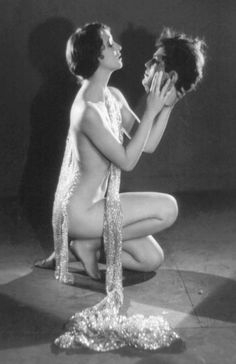 PHOTO - LIKELY FOR ARCADE CARD - WOMAN KNEELING WITH ONLY SHINY LONG SCARF HOLDING GROTESQUE MODEL HEAD - THIS SALOME THEME WAS USED MANY TIMES FOR ARCADE CARDS - BUT THE WOMAN IS PARTICULARLY DARING IN THIS ONE