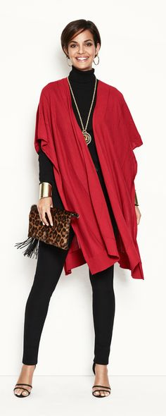 Red Ruana. Wear it later, with a classic turtleneck-and-legging combo.