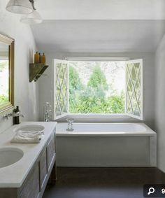 Beautiful white bathroom with lovely window Cottage Bath, Upstairs Bathrooms, White Bathrooms, Master Bathrooms, Best Bathtubs, Huge Windows, Bathroom Colors, Bathroom Inspo, Bathroom Ideas