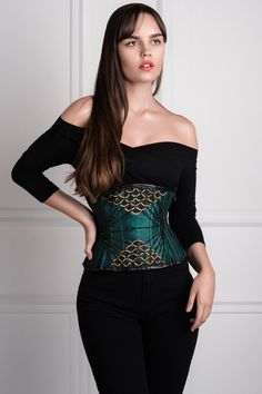 300aeb77e01 Embellished Couture Underbust Corset Waspie In Green - 20. Underbust  CorsetShapewearBurlesqueHot ...
