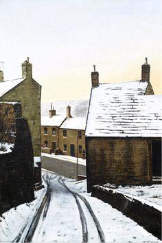 Peter Brook (British, Self Portrait Freezing. Oil on canvas, x cm. Landscape Art, Landscape Paintings, Landscapes, Peter Brook, Cool Easy Drawings, Painting Snow, City Painting, Art Folder, Building Art
