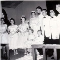 Gorgeous 1950s wedding - I love the bridesmaids' dresses! Image by Mahalie Stackpole (CC-BY-SA).