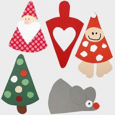 Juleklip for børn med julemotiver. Lav nisser, juletræer og julemænd af forskellig farvet karton.