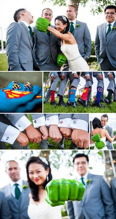 I love the subtle details of this Superhero Themed Wedding such as socks and cuffs : )