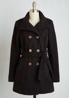 Make or Coffee Break Coat in Black. In this classic black peacoat, you arent soon to be forgotten at that new coffee shop down the block. #black #modcloth
