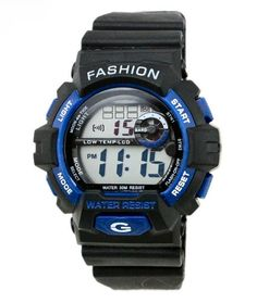 Boys Youth Digital Outdoor Resign Multi Function Electronic Waterproof Wrist Sport Watch Blue. Imported High quality movement with rubber band. Multi Function:Alarm, calendar, week display, Chronograph, Back light. 30 meters waterproof (not for diving and do not press button under water). Resin band with buckle closure. Fashionable, very charming for all occasions. Amazing looking watch, a great gift for friends.