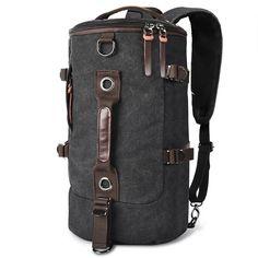Buy Retro Duffel Cylinder Bag Canvas Travel Backpack for Men Hiking Luggage Weekend Bag Black - black - and More Fashion Bags at Affordable Prices. Sling Backpack Purse, Rucksack Backpack, Canvas Backpack, Laptop Backpack, Leather Backpack, Messenger Bag, Hiking Bag, Men Hiking, Hiking Backpack