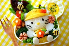 Hello Kitty bento. You know when it comes to bento box, you must try at least one Hello Kitty creation!