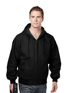 Enzyme Wash Cotton Canvas Hooded Work Jacket With Quilted Lining. Tri mountain 4680 #Trimountain #black #comfortable