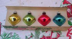 Unusual Diamond Shape 1950s Shiny Brite Christmas Ornaments.