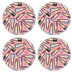 MSD Natural Rubber Round Coasters IMAGE ID: 7876569 Seamless background with lipsticks >>> Click image for more details.