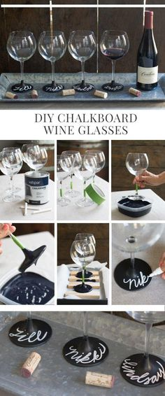 These DIY Chalkboard Wine Glasses would be awesome favors for a 50th birthday party!