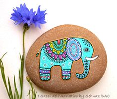 #Paintedstone Blue #elephant