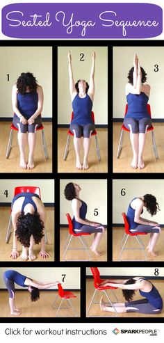 8 Seated Yoga Poses You Can Do from a Chair - A Gentle Yoga Workout That Feels Great (Click thru for instructions). @SparkPeople