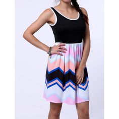 Trendy Sleeveless Scoop Neck Colorful Zig Zag Dress For Women — 14.62 € Size: XL Color: COLORMIX