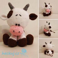 Pattern Cute little crochet cow Crochet Toys Patterns, Amigurumi Patterns, Stuffed Toys Patterns, Crochet Cow, Doll Tutorial, Loom Knitting, Amigurumi Doll, Crochet Projects, Diy And Crafts