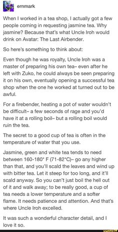 avatar the last airbender & When I worked in a tea shop, I actually got a few people coming in requesting jasmine tea. Why jasmine? Because thats what Uncle Iroh would drink on Avatar: The Last Airbender. So heres something to think Avatar Funny, Avatar Aang, Homestuck, Avatar The Last Airbender Art, Sneak Attack, Avatar Series, Team Avatar, Fire Nation, Air Bender