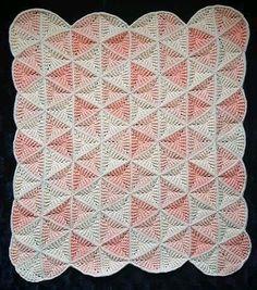 Crochet Triangle Pattern, Crochet Quilt Pattern, Crochet Motifs, Crochet Blocks, Crochet Blanket Patterns, Baby Blanket Crochet, Crochet Stitches, Baby Afghans, Plaid Crochet