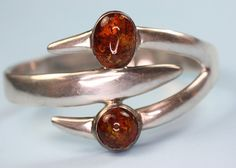 Modernist Hinged Cuff Bracelet:Taxco Mexico Sterling and Amber