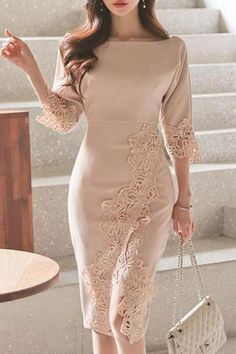 The temperament round neck stitching lace slim bodycon dress is so elegant and you will love it. Tight Dresses, Fall Dresses, Cheap Dresses, Elegant Dresses, Cute Dresses, Evening Dresses, Casual Dresses, Dresses Dresses, Summer Dresses