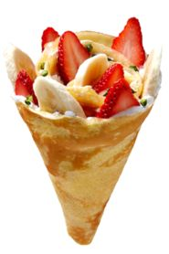 Strawberry Banana  • Strawberry • Banana • Crushed pistachios • Eight Turn custard cream • Eight Turn whipped yogurt    Thelma and Louise. Yin and yang. Salt and Pepper. Strawberry and Banana. Why mess with a beautiful thing? We let the winners do the work in this crepe; fully ripened strawberries and bananas atop our signature whipped yogurt and custard cream with a dusting of pistachio. Need we say more?