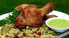 Crisp Spiced Chicken with Hummus Vinaigrette