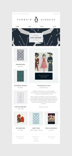 Penguin Classics Email Template Suite by Hatch Inc. via Behance - https://www.behance.net/gallery/18067087/Penguin-Classics