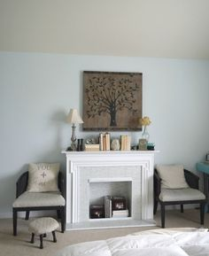 Redoing this thrift store fireplace surround was fun to do. Also redoing the cane chairs. These simple DIY projects are what can help your home become a dream home that is fully decorates. To see more visit- http://ourhousenowahome.com/