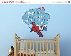Decals for Kids Reach For The Sky Cloud and Plane by UrbanTickle, $51.00    Have put in sky portion of UTS wall mural