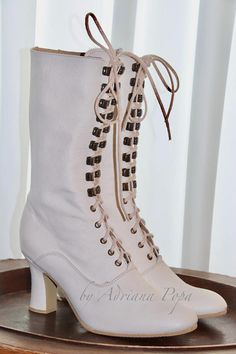 Victorian Steampunk Boots for Sale White Leather Ankle Boots, Leather Booties, Victorian Shoes, Victorian Steampunk, Steampunk Boots, Burgundy Boots, Lace Heels, Shoes Heels, Wedding Boots