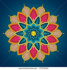 Mandala. Ethnic lace round ornamental pattern. Beautiful hand drawn flower. Can be used to fabric design, decorative paper, web design, embroidery, tattoo, etc. by Vodoleyka, via Shutterstock