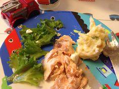 Sunday Roast Salmon with fresh mash and crunchy green salad