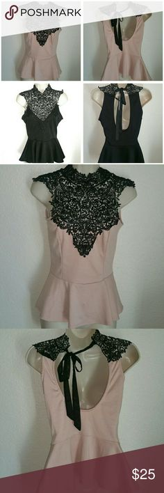 2 Lace Peplum Tops Bundle Different labels, but exact same top! One of my daughter's many items for sale.  Soft pink top is Oboe Oboe Oboe, Black top is Arden B. Both size M. Arden B Tops Blouses