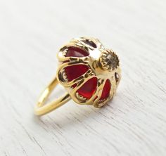 Vintage Red Stone & Rhinestone Ring - Signed Sarah Coventry 1970s Roy…