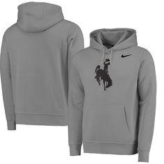 Wyoming Cowboys Nike Big Logo Fleece Hoodie - Heather Gray