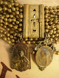 Antique Victorian bracelet with French religious medals fobs WIDE 8 ro Antique Items, Antique Brass, Antique Jewelry, Men's Jewelry, French Antiques, Vintage Antiques, Religious Icons, Shape And Form, Crosses
