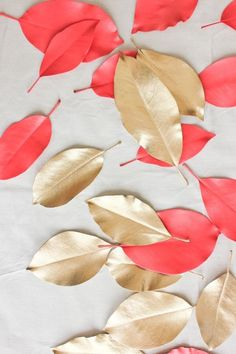 I love the idea of spray painting leaves in the colors