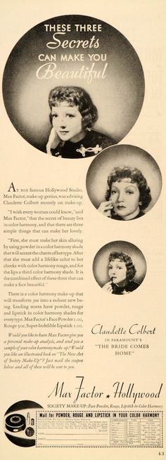 1936 Ad Max Factor Hollywood Make-Up Studios Claudette Colbert Actress DL2