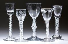Large selection of 18th century enamel-twist stems