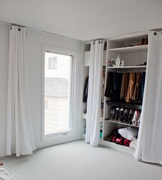 Lemari dinding, how to make a closet/wardrobe on a wall Make A Closet, Closet Bedroom, Bedroom Storage, Bedroom Decor, Closet Wall, Closet Space, Master Bedroom, Curtains For Closet Doors, Curtain Closet