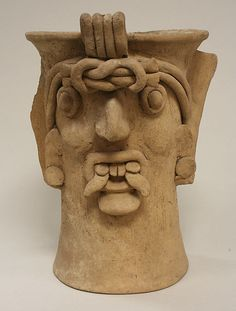 Ceramic Head Vessel  10th-13th century  Toltec ceramic