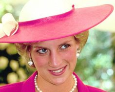 The 1987 Epsom Derby took place at Epsom Downs racecourse, Surrey, on Wednesday June 3, 1987. Princess Diana wore a shocking pink Catherine Walker suit with a fitted jacket and white silk floral blouse that cinched at the waist with long trailing ties.  Her matching pink and white hat was by Philip Sommerville.