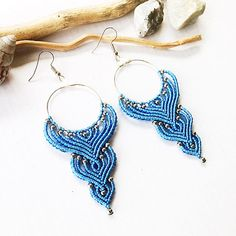 """Blue long beaded"" macrame earrings. The size is 4 inch with earwire. Materials: blue nylon macrame cord 0,8mm, metallic beads 3mm, metallic hoop connector, nickel free earwire. my own work and design colorful earrings perfect match to casual style and make it bright and stylish"