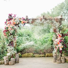 Lush Floral Wedding Ceremony Altar Arch